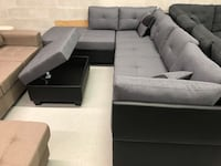 Brand new large grey fabric sectional sofa with storage ottoman warehouse sale  多伦多