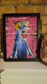 blue and white dog painting with black wooden fram Toronto, M6R 3C2