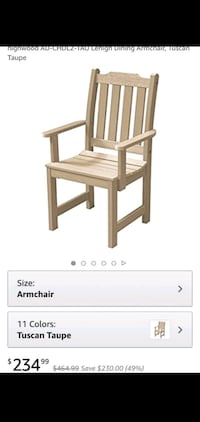 2 high wood outdoor chairs - brand new