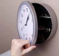 """10"""" Silver Wall Clock with Hidden Safe Vancouver"""