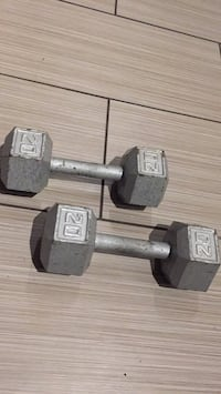 two gray fixed weight dumbbells 509 km