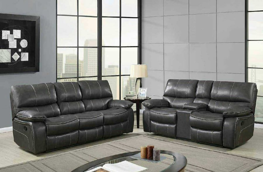 Reclining Living Room Set in Black Leather Air. b63eefdb-d59b-400d-906c-bbf968f80fe0