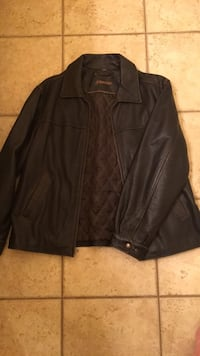 Brown leather zip-up jacket 1451 mi