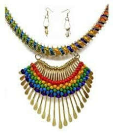 gold, red, yellow, green and blue beaded bib necklace with earrings