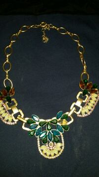 gold-colored and green beaded necklace Edinburg, 78542