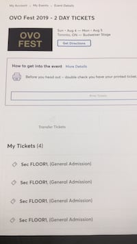 OVO FEST 2DAY FLOOR TICKETS Toronto, M5H
