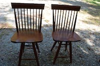 Pair of Wooden Swivel Barstools
