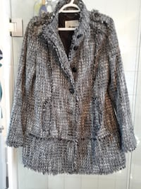 GUESS Los Angeles black white grey Tweed Coat Size L, like New Kitchener