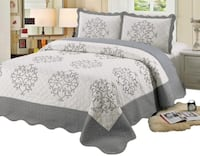 New Quilt Queen/ King Size 3 piece Bedding Bed set / Bedspread / embroidered / 2 pillow sham, Silver