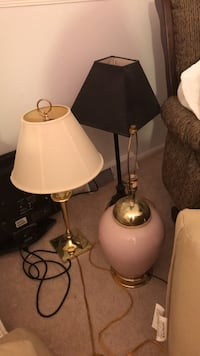 two white and brown table lamps Manalapan, 07726