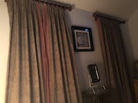 Blackout curtains! 2 curtains set x 2 in brown and olive green! Comes with curtains beautiful wooden rod set! Perry Hall