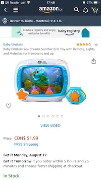 Baby Einstein Sea Dreams Soother Crib Toy with Remote, Lights and Melodies for Newborns and up Montréal, H1C 0C4