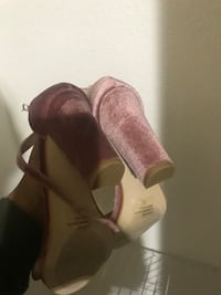 pair of brown velvet chunky heeled shoes