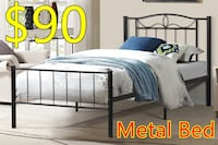 Brand new black metal platform bed frame in single and double on sale  多伦多