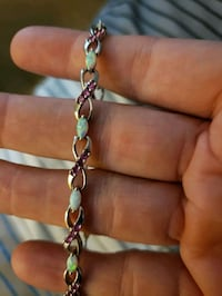 ladies opal and pink sapphire bracelet with pink sapphire ring
