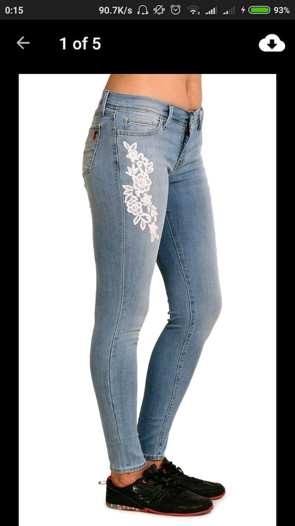 White lace printed jeans