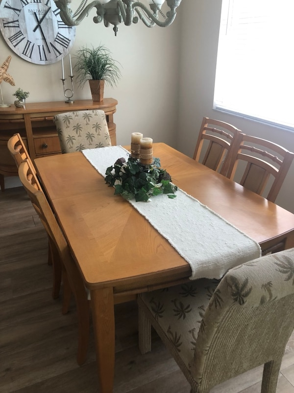 Beautiful dining room set with serving table