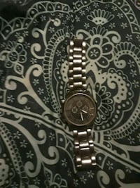 round silver-colored chronograph watch with link bracelet Gloverville, 29828