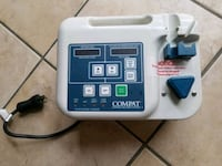 white and blue Compat corded electronic device