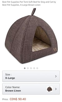 New, unused.. Best Pet Supplies Pet Tent-Soft Bed for Dog and Cat X-Large Brown Linen St Thomas, N5R 6M6