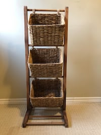3-tier wicker basket rack