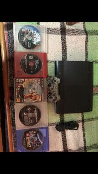 black Sony PS3 super slim console with controller and games Fullerton, 92831