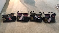 four assorted color sunglasses with case