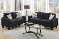 Black Linen-Like Fabric Sofa and Loveseat Set 279.99 SANDIEGO