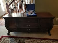 brown wooden dresser with mirror ASHBURN