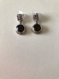 Sterling silver crystals and smoky Quartz earrings