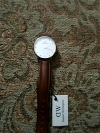 round silver analog watch with brown leather strap Toronto, M9C 1B8