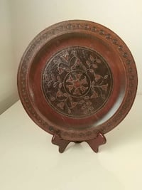 round brown and black wooden floral decorative plate Palm Bay, 32908