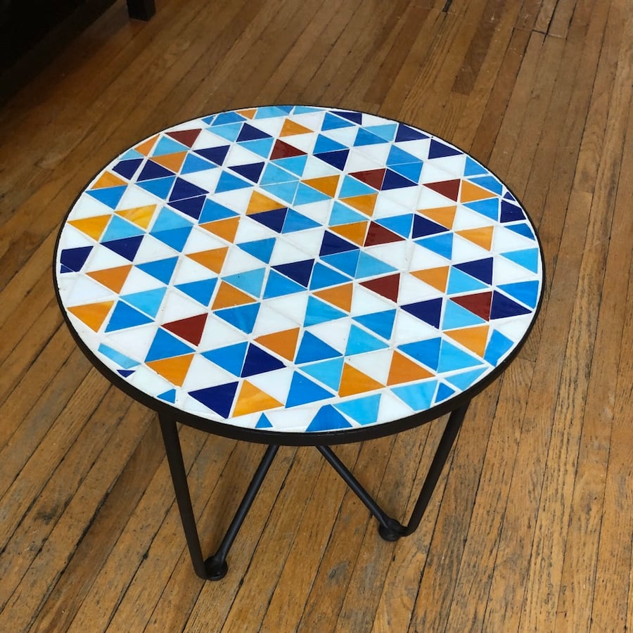 Mosaic metal end table/plant stand/coffee table