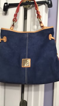 blue and brown Dooney and Bourke leather tote bag