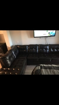 Dark Brown/Espresso leather tufted sectional couch