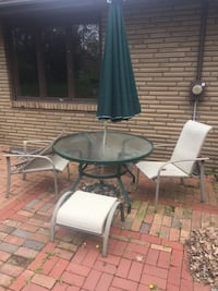 Patio Furniture; table, 2 chairs, 2 foot stools