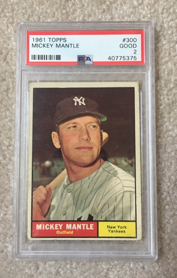 1961 Topps 300 Mickey Mantle New York Yankees Nyy Baseball Card Graded Psa 2 Good 61 Rare