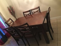 rectangular brown wooden table with six chairs dining set Katy, 77450
