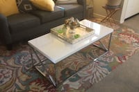 Chrome and lacquer coffee table