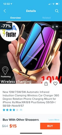 Wireless car charger.