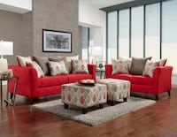 orange suede loveseat and armchair Houston, 77095