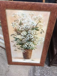 Queen anne's lace flower in brown wicker basket painting