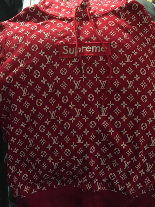 45b576e6e191 Used Red and white supreme x louis vuitton pullover hoodie for sale ...