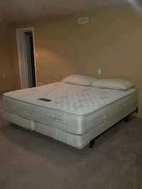 Like new Quilted king mattress, box and bed frame Burnaby, V5E 1Y9