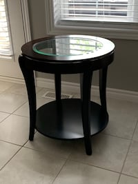 Sold Wood Side Table with Glass Top