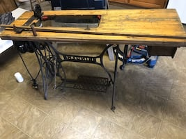 Vintage sewing table without machine sold as is