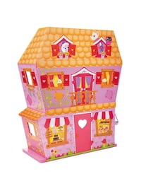Lalaloopsy wooden dollhouse with sofa, oven, bed, and multiple dolls and accessories.  In excellent condition.