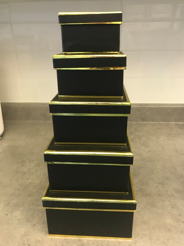 Gift Boxes -5 sturdy cardboard with gold trim