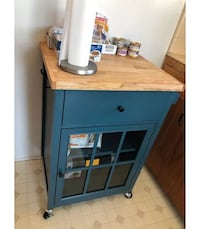 Wood top kitchen cart