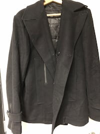 Billtornade men's black wool pea coat sz XL